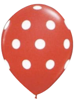 Red and White Polkadot Balloon - Single