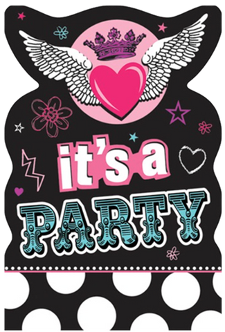Rocker Princess Party Invites x 8