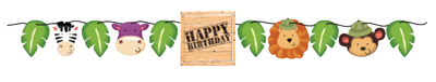 Safari Jungle Birthday Banner