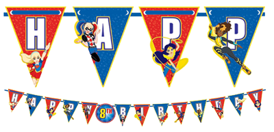 Super Hero Girls Happy Birthday Banner