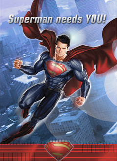 Superman Man of Steel Invites