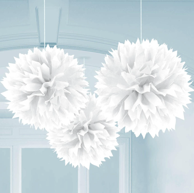 White Fluffy Tissue Ball Decorations, Party