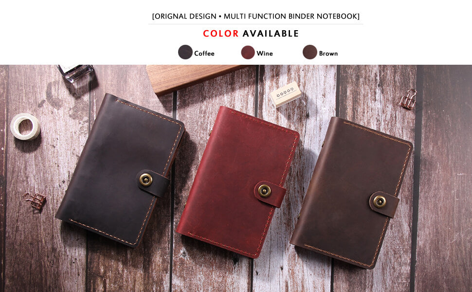 A6 ring binder leather journal travel notebook