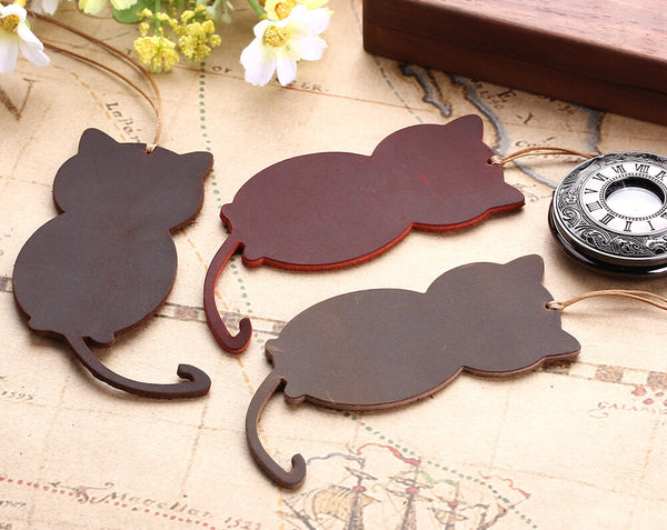 Cat Shape Genuine Leather Bookmarks