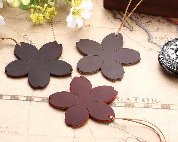 Flower shape leather bookmark