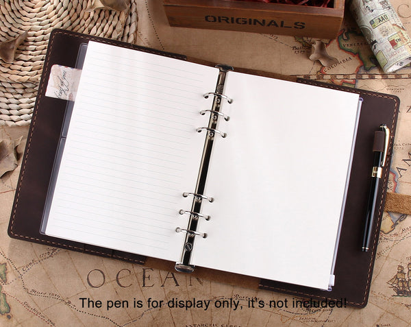 Personalized Leather A5 Refillable Ring Binder Notebook, Leather Travel Journal - Aimee Creative LLC
