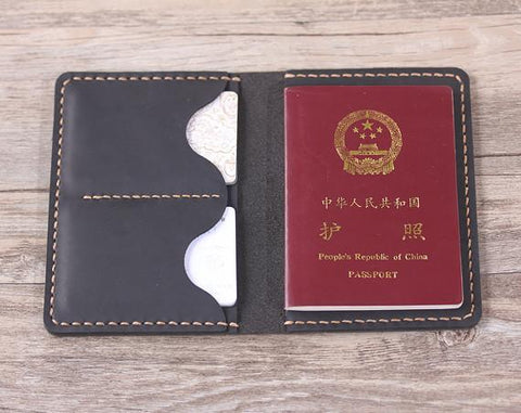 Handmade Leather Travel Passport Wallet - Aimee Creative LLC