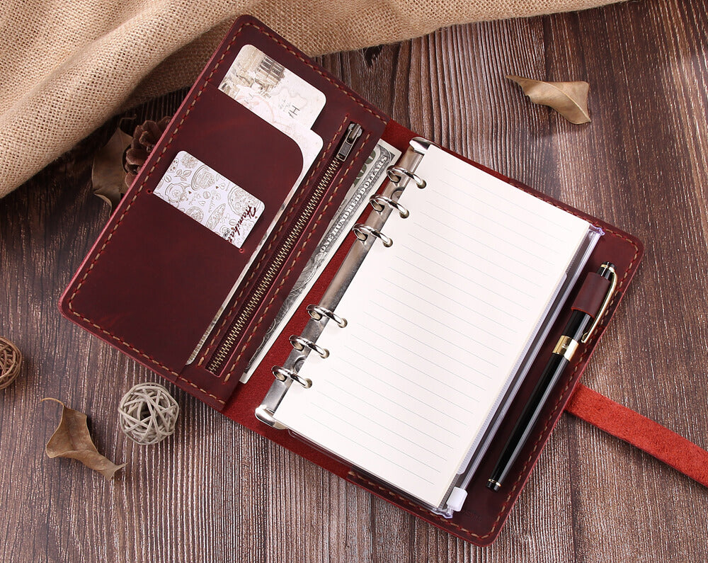 Personalized Refillable Ring Binder Journal, A6 Leather Planner Notebook
