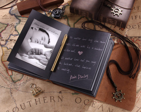 vintage leather photo album