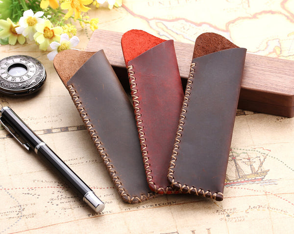 Handmade leather pen organizer