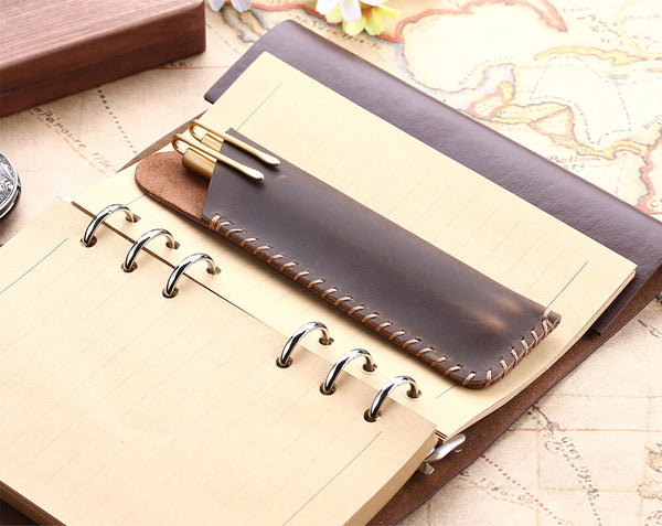retro genuine leather pencil bag