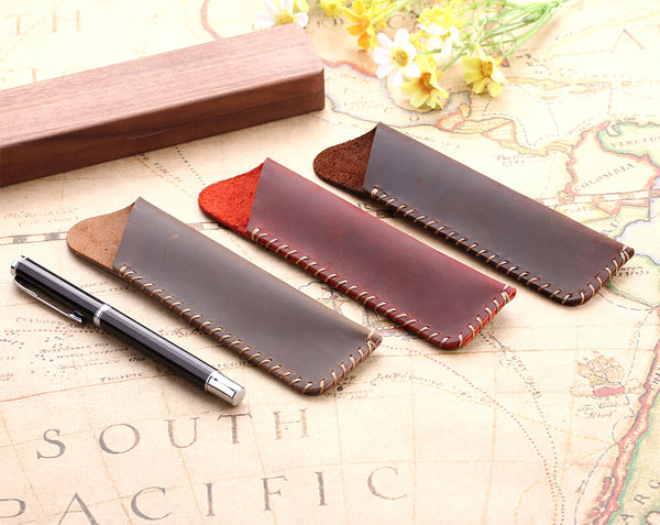 hand-made leather pencil bags