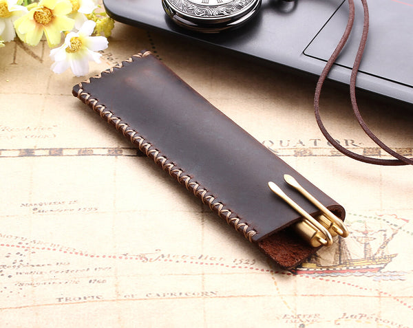 Rustic leather pencil bag