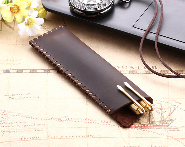 Vintage genuine leather pen / pencil bag