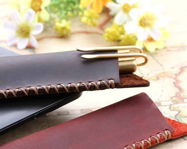 Leather pen pouch