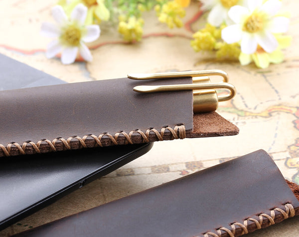 Custom leather pen bag