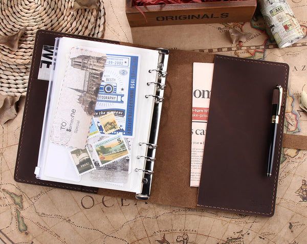 Ring Binder A5 Leather Travel Notebook