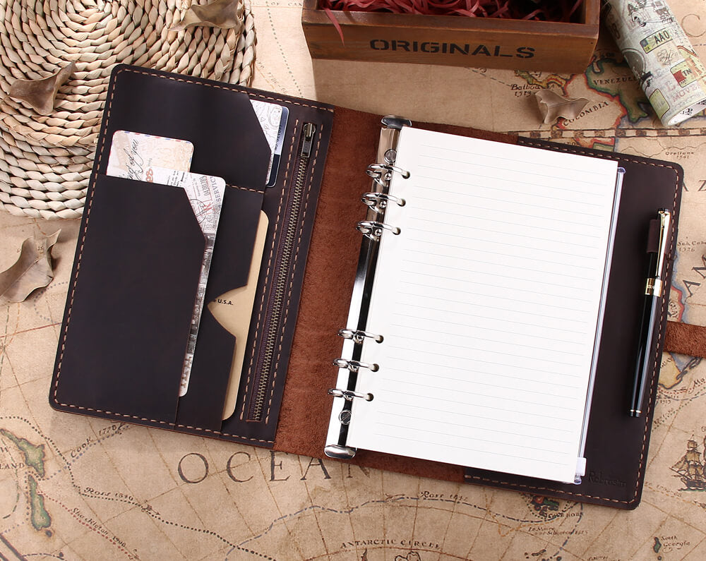 Personalized Leather A5 Refillable Ring Binder Travel Notebook