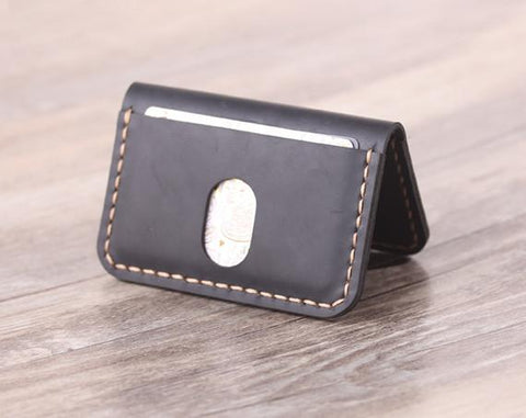 Leather Business Card Holder, Men's Leather Wallet - Aimee Creative LLC
