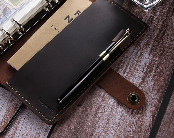 handmade a6 ring binder leather travel journal notebook