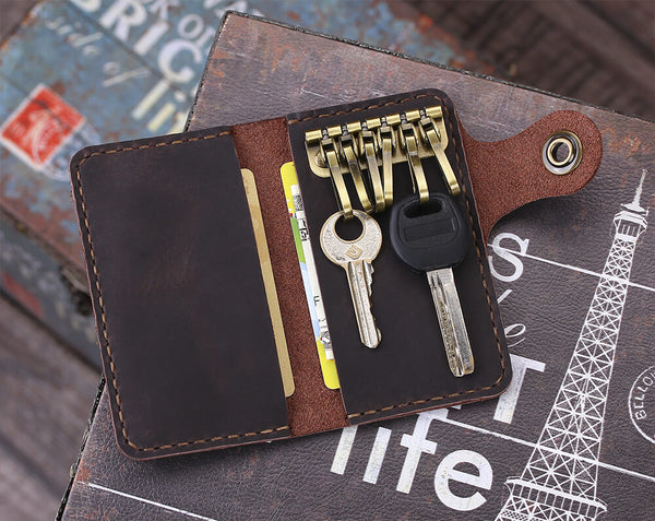 Leather slim key wallet