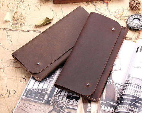 Handmade Antique Genuine Leather Multi Functional Wallet, Men Women Distressed Leather Long Clutch Wallet Card Holder - Aimee Creative LLC