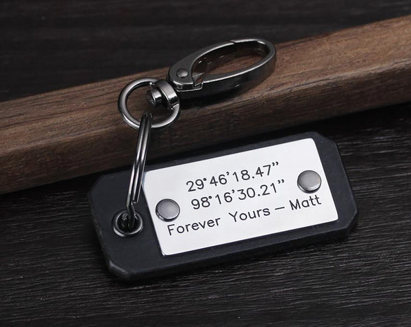 personalized leather coordinate keychain