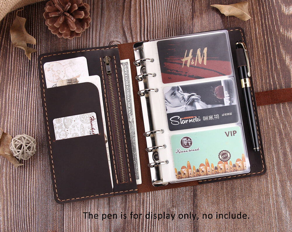 Personalized Refillable 6 Ring Binder Rustic Leather A6