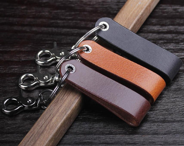 personalized leather initial name keychain