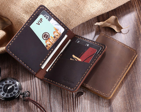 Minimalist Men's Leather Bifold Card Wallet, Distressed Leather Slim Wallet, Leather Card Holder - Aimee Creative LLC