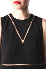 Alexander Wang - Crew Neck Straight Cut Dress with Fishline Details