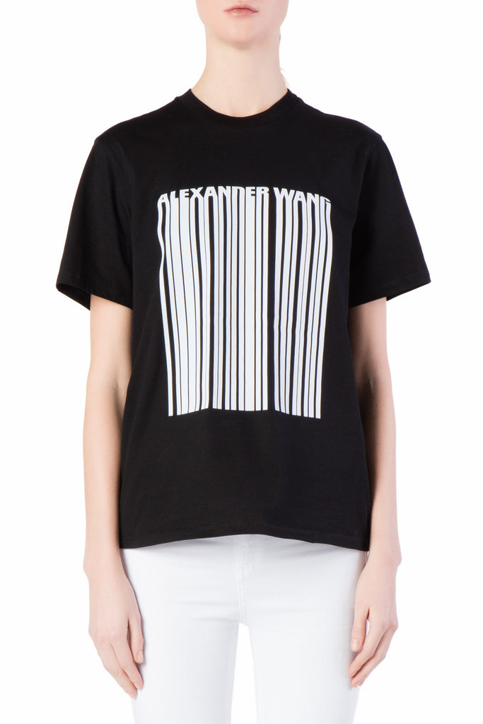 Alexander Wang - Boxy Crew Neck Black T-shirt with Bonded Barcode