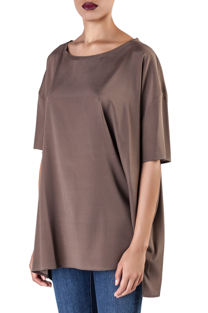 Mr. & Mrs. Shirt - Brown Silk Top