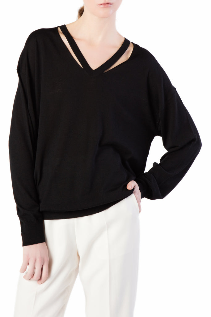 Alexander Wang - Black Sweater with Slashed Placket