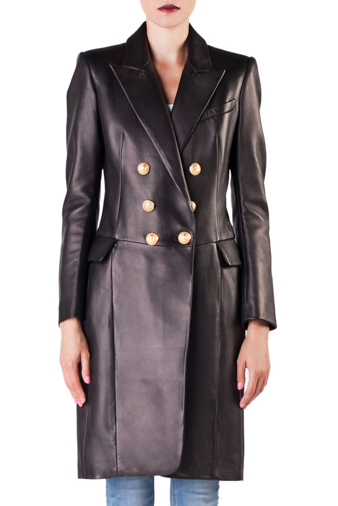 Balmain - Black Leather Coat