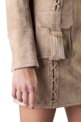 Balmain - Beige Lamb Skin Lace-Up Dress