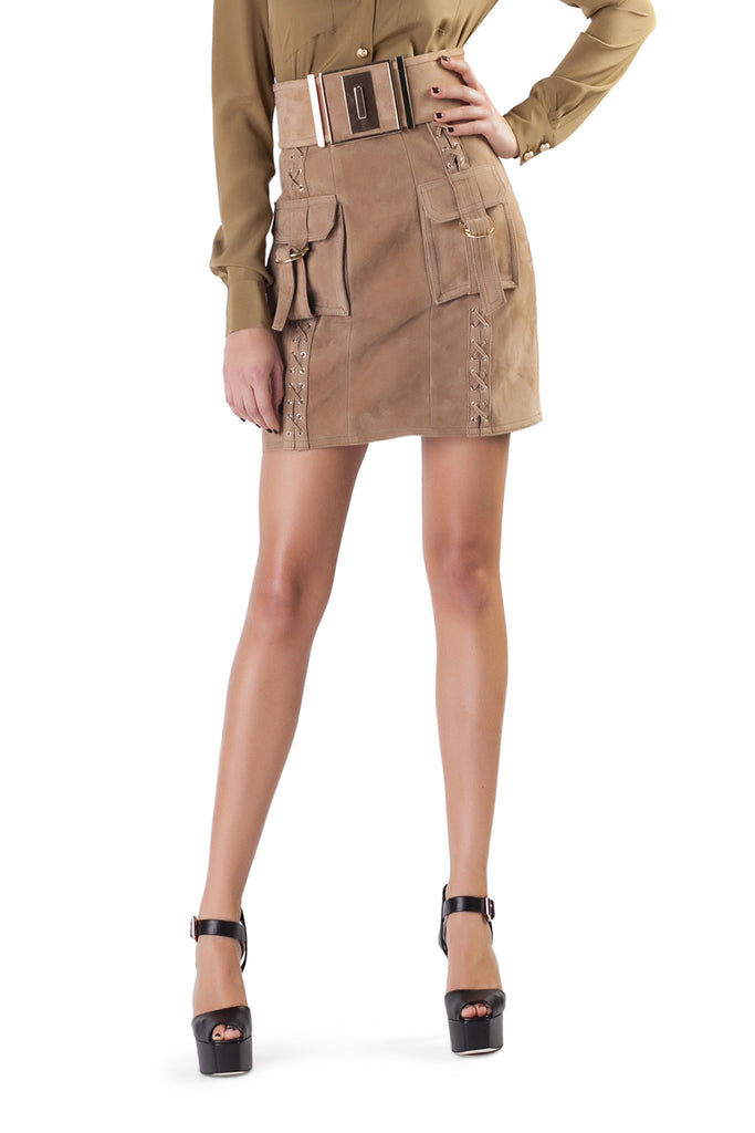 Balmain - Beige Lamb Mini Skirt