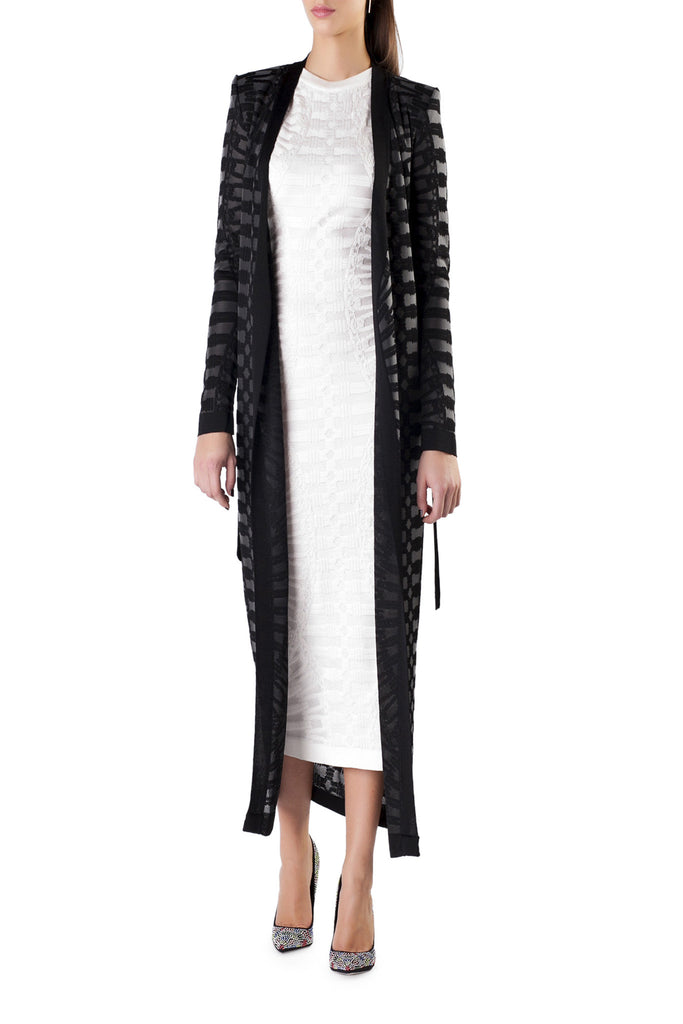 Balmain - Black Chain Knitted Coat