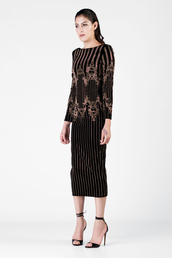Balmain - Embellished Black Dress with Golden Details