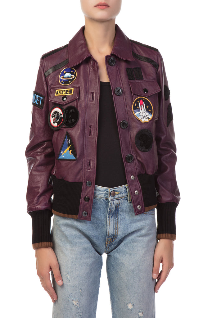 Coach 1941 - Purple Leather Jacket with Patch