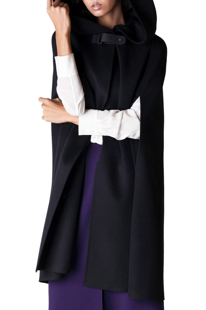 Agnona - Black Hooded Cashmere Cape
