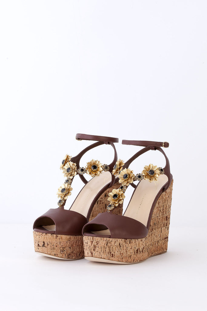 Giuseppe Zanotti - Embellished Cork Wedge Sandals