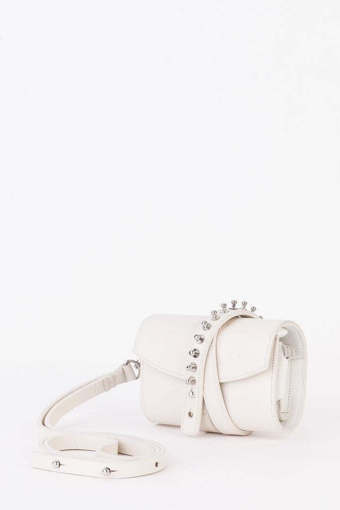 Loes Vrij - White GGUN Studded Clutch