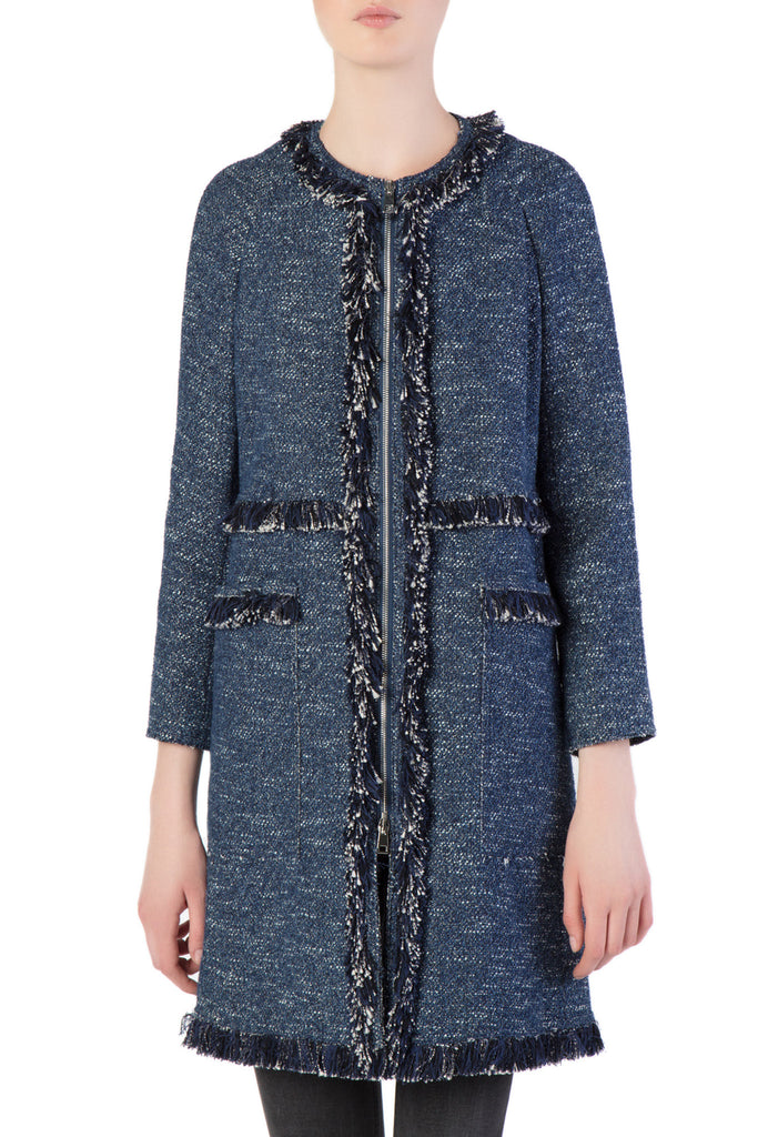 Theory - Blue Fringed Coat