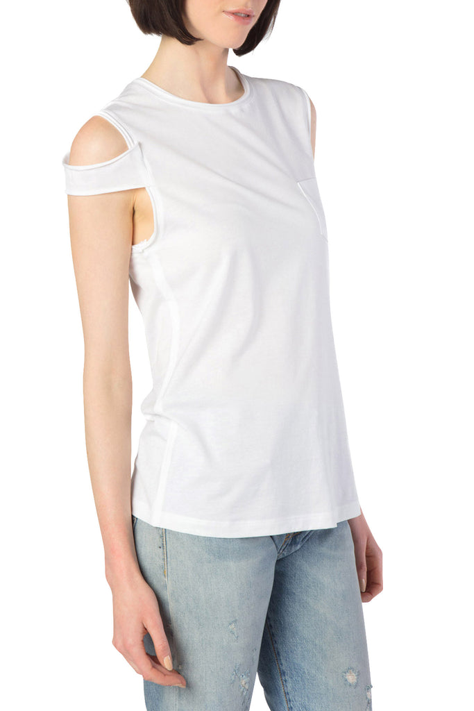 Helmut Lang - Cold Shoulder White Tank Top
