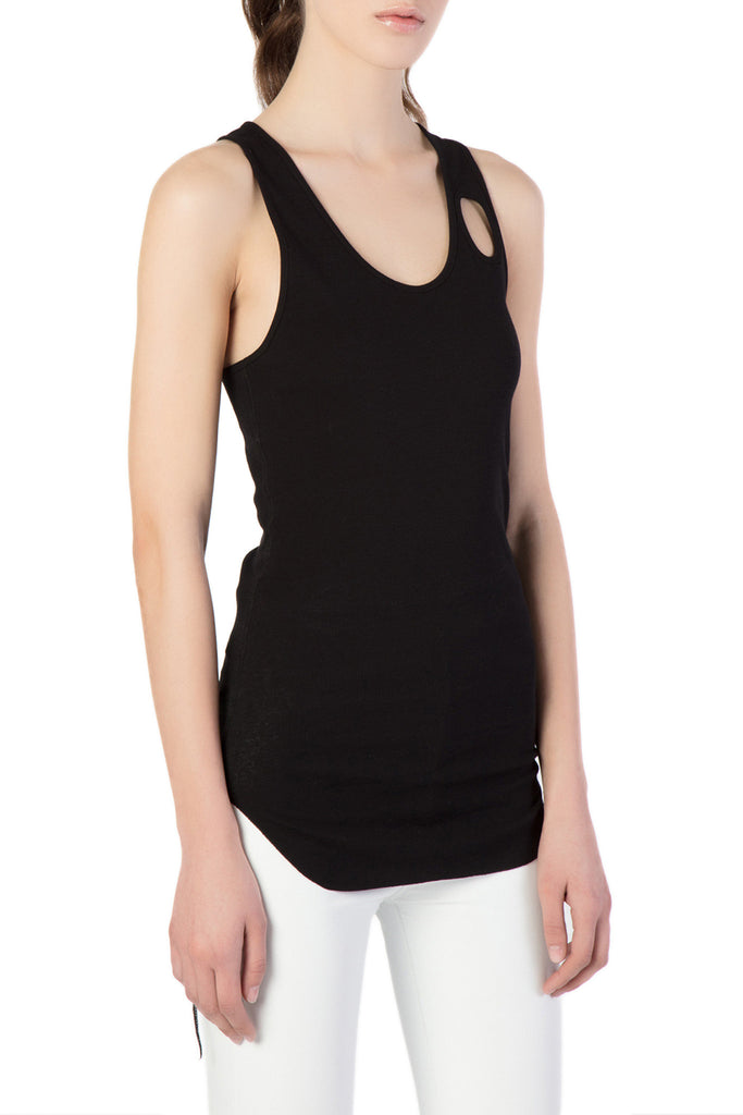 Helmut Lang - Black Tank Top w/ Front Hole