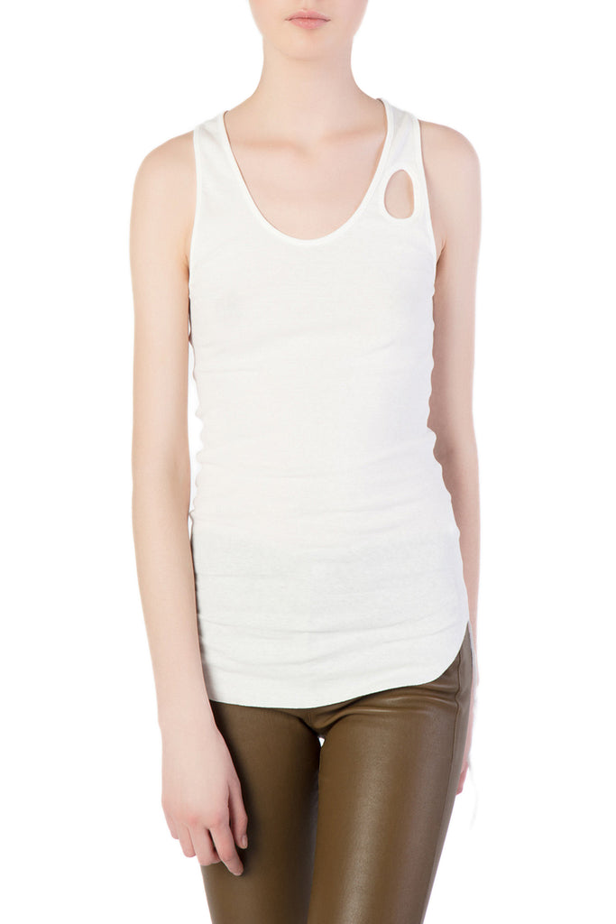 Helmut Lang - White Tank Top w/ Front Hole