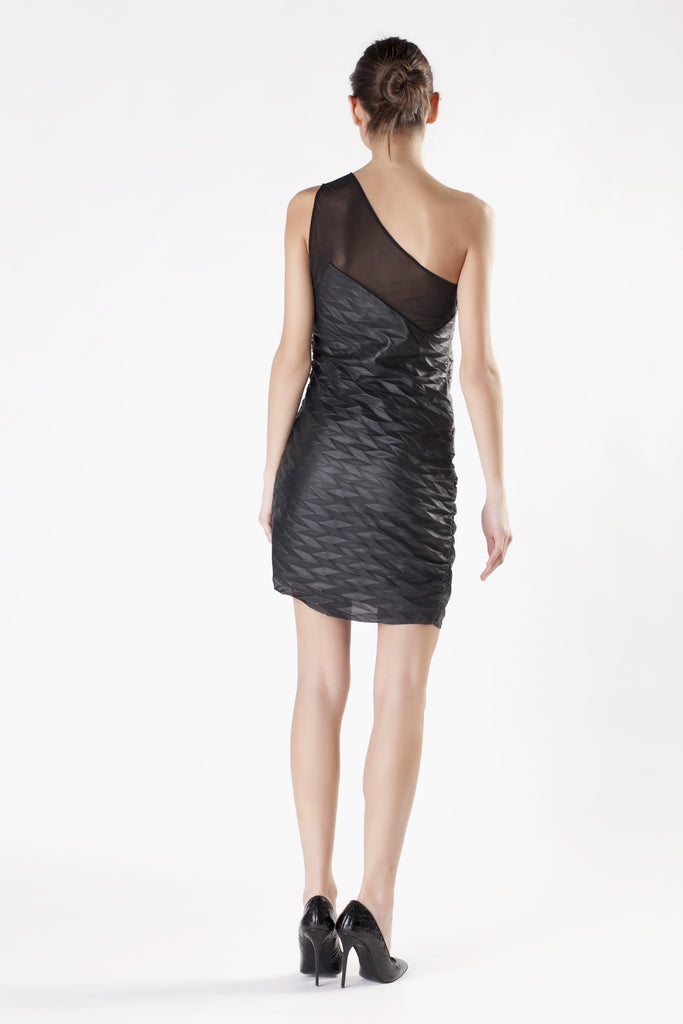 Jay Ahr - Embossed Leather Black Dress