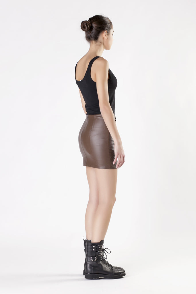 Jay Ahr - Leather Brown Skirt