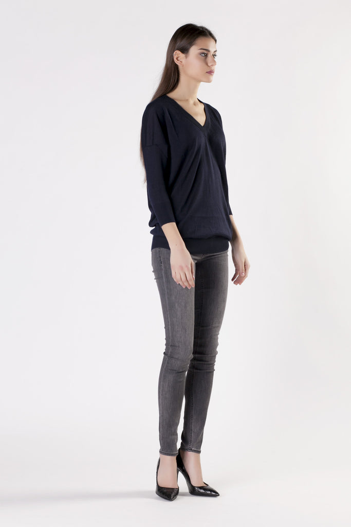 Leetha - Blue V-Neck Sweater